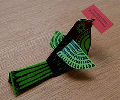 linocut, folded bird cards
