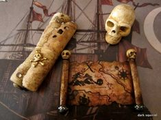Pirate's Aged Map and Scroll set ooak dollhouse by DarkSquirrel, $12.00