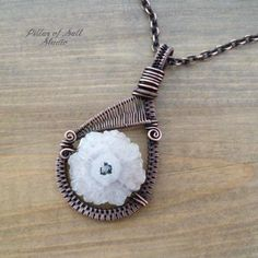 Items similar to Solar Quartz Wire wrapped pendant necklace - Wire Wrapped jewelry handmade - Copper jewelry - woven wire pendant - stalactite slice on Etsy Wire Necklace, Copper Necklace, Copper Jewelry, Wire Jewelry, Pendant Necklace, Boho Jewelry, Earrings, Wire Pendant, Wire Wrapped Pendant
