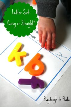 Letter Sort: Curvy or Straight. Hands-on way for children to notice the differences between letters.