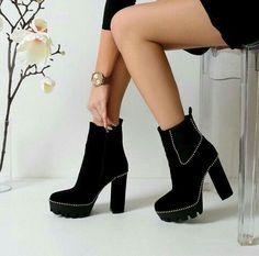 black women s boots size 6 High Heel Boots, Heeled Boots, Shoe Boots, High Heels, Shoes Heels, Cute Shoes, Me Too Shoes, Dream Shoes, Shoe Closet