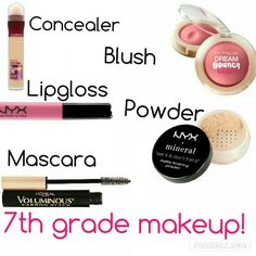 I made this because I think this would be perfect for 7th graders. #7thgrademakeup #middleschoolmakeup #makeup #grade7makeup