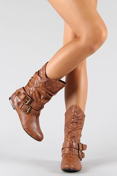 Buckle Slouchy Mid-Calf Boots ... Soo want these boots for fall !!! :)