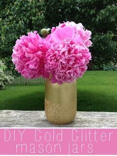 DIY Gold Glitter Mason Jars -