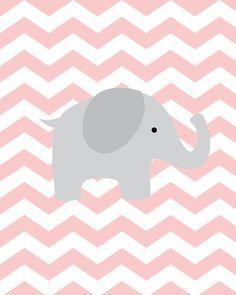 Baby Girl Nursery Art Chevron Elephant Nursery by SweetLittleBarn | best stuff
