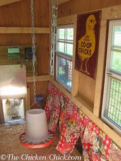 Nest box curtains are the place where fashion meets function inside the chicken coop. Yes, nest box curtains can add a whimsical, fashionable touch to a chicken coop, but more importantly, they serve . Chicken Chick, Chicken Lady, Chicken Coops, Chicken Houses, Chicken Tractors, Chicken Ideas, Inside Chicken Coop, Chicken Coop Decor, Chicken Coop Signs