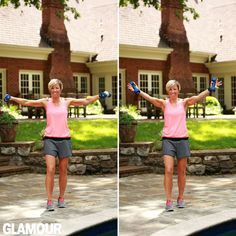 Carrie Underwood's arm workout: Lateral raise into front V-raise