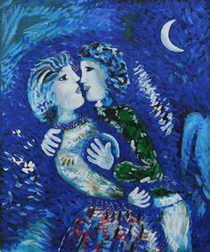 Lovers with Half Moon by Marc Chagall