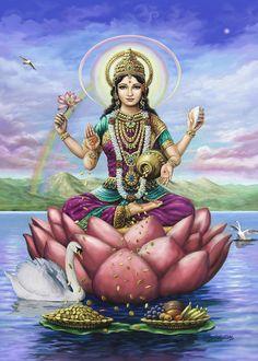 Lakshmi Painting - Lakshmi Goddess Of Fortune by Vishnudas Art Indian Goddess, Goddess Art, Saraswati Goddess, Lakshmi Images, Lakshmi Photos, Sacred Feminine, Hindu Deities, Hindu Art, The Hindu