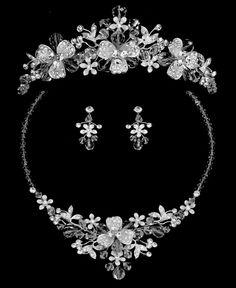 Silver Plated Crystal Floral Wedding Tiara and Matching Jewelry Set Enchanting Silver Plated Crystal Floral Wedding Tiara and Matching Jewelry Set – Affordable Elegance Bridal – Bridal Jewelry Sets, Wedding Jewelry, Bridal Accessories, Silver Jewelry, Jewelry Necklaces, Crystal Jewelry, Silver Earrings, Jewellery, Wedding Shoes Bride