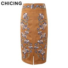 CHICING Retro Pencil Skirts Ethnic Embroidered Floral Print Bodycon High Waist Women Tube Wrap Midi Suede Skirt Saias A1511003