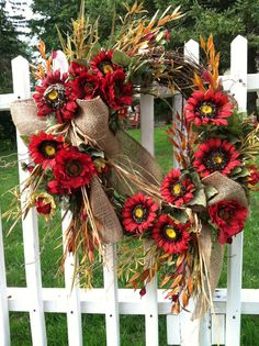 Red Sunflower Wreath  Large Wreath for Door by marigoldsdesigns, $69.00