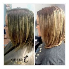 """You don't have to get AIRess Extensions just for length! If you love your hair short but want the extra volume take a look at this before/after for some inspiration!   Here these AIRess Extensions in """"Chocolate Caramel"""" are so natural looking and they provided the perfect amount of volume! You would never know she had extensions in! www.QueenCHair.com"""