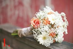 Country/Rustic Bride's Bouquet With Pastel Orange Roses, White Gerbera Daisies & White Baby's Breath Hand Tied With Lace & Burlap>>>> Orange Rose Bouquet, Gerbera Daisy Bouquet, Gerbera Daisies, Orange Flowers, Yellow Flowers, Daisy Wedding, Rose Wedding Bouquet, Wedding Flowers, Dream Wedding