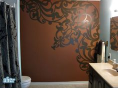 beautiful hand painted mural in this bathroom... (RATS, I was hoping it was a wall tattoo I could buy, lol) and LOTS of great before & afters on this site!