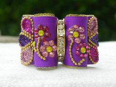 Noeud double coques 7/8 violet et doré cristaux Swarovski : Animaux par…