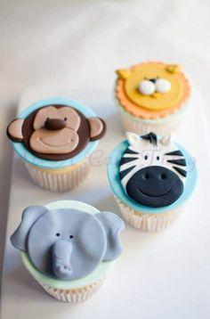 jungle cupcakes monkey, lion, zebra, elephant