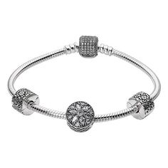 Pandora 'Glistening Wonder' Bracelet Gift Set ($195) ❤ liked on Polyvore featuring jewelry, bracelets, snowflake charm bracelet, charm bangle, pandora jewelry, beads & charms and clasp charms