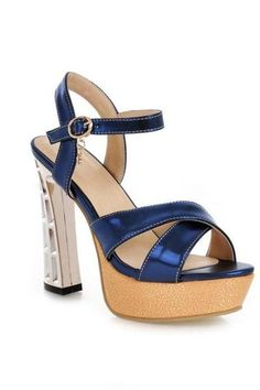 Women's Pure Color Pu Peep Toe Thick Heel Ankle Strap High Heel Sandals Pumps