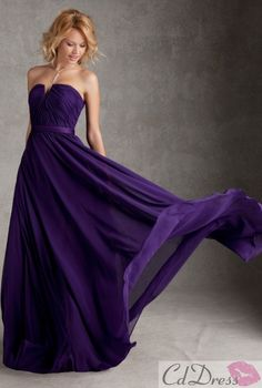 A line Strapless Chiffon Long Bridesmaid Dresses - Bridesmaid Dresses - Wedding Party Dresses - CDdress.com
