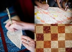 """LOVE THIS IDEA WANT TO THIS AS QUESTBOOK               wedding """"guest book"""" - quests write on squares of fabric, make a quilt with them later"""