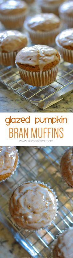 Glazed Pumpkin Bran Muffins... These glazed pumpkin bran muffins will knock your socks off! They are moist, tender, sweet and on the healthy side! Make them in 1-bowl and have them baked and ready to go in 1 hour.
