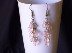 Tiny pink hearts chandelier earrings by EllensEclectics on Etsy, $8.00