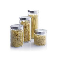 Shop Glass Storage Canisters with Stainless Steel Lids. All clean lines and clear glass, these all-purpose storage canisters provide see-through storage of pantry essentials.