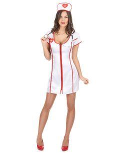 Este disfraz blanco de enfermera para mujer incluye el vestido y la cofia (medias y zapatos no incluidos).     Estos dos elementos están hechos de un material satinado.    El vestido se abrocha y se desabrocha con cremallera.     Este disfraz de enfermera