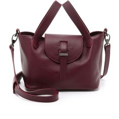 meli melo Thela Mini Bag ($560) ❤ liked on Polyvore featuring bags, handbags, burgundy, genuine leather handbags, purple handbags, mini purse, burgundy leather handbag and burgundy purse