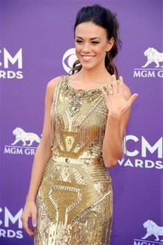 Singer Jana Kramer arrives at the 48th Annual Academy of Country Music Awards at the MGM Grand Garden Arena in Las Vegas on Sunday, April 7, 2013. (Photo by Al Powers/Invision/AP)