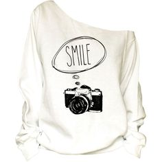 ffddc8dd5aeec Photograph Camera Print Oversized Off Shoulder Raw Edge Slouchy... ( 29) ❤