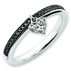 White Gold over Silver Black White Diamond Heart Stackable Ring Available Exclusively at Gemologica.com