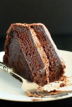 One Bowl Vegan Chocolate Cake! Easy, moist, so fluffy and delicious #vegan   Minimalist Baker Recipes