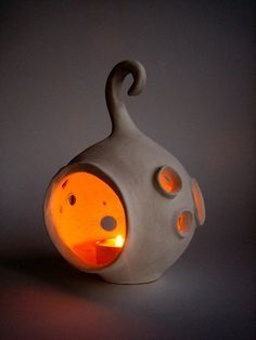 "Ceramic lantern ""Moon"" - Handmade ceramic lantern - Candle holder, luminary"