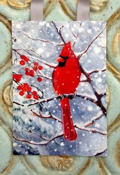 Painting Snow, Diy Painting, Painting & Drawing, Tole Painting, Bird Paper Craft, Bird Crafts, Christmas Paintings, Christmas Art, Christmas Mosaics