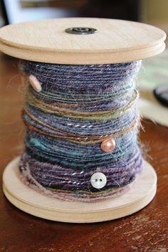 Hand spun art yarn - English long wool, Mohair, Antique buttons, Corespun, Yarn, Luxury Yarn, hand dyed, sparkle, blue, brown, pink