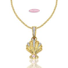 """Disney Necklaces - 14K Yellow Gold Disney Princess Ariel Shell Necklace on a 16"""" Adjustable Chain (14,15,16 inches) includes .115 ct. of Diamonds and .02 ct. of Pink Sapphires found on Polyvore"""