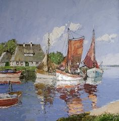 """Tuesday Trivia: Did you know today is """"Go Fishing Day?"""" If you can't take the day off work to celebrate, you can at least enjoy this piece by Erich Paulsen titled """"At the Dock."""""""