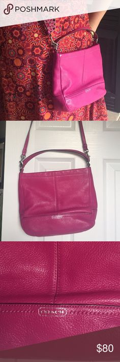 Pink pink pink coach cross body I absolutely love this bag. So light weight and perfect cross body for any trip or vacation. The color is so bright and feminine. Little ware because it has been used before but still in great shape Coach Bags Crossbody Bags