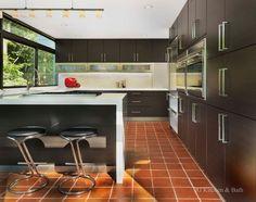 modern kitchen with terracotta floor - Google Search