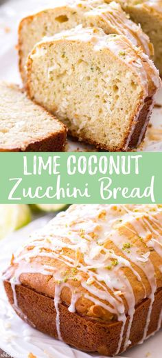 This homemade lime coconut zucchini bread recipe is extremely moist and easy to put together. This zucchini quick bread uses coconut and lime (instead of lemon) to make this classic zucchini bread recipe perfect for summer. This makes a wonderful breakfast, brunch or dessert! #recipe #bread #dessert #breakfast #zucchini