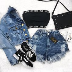Love outfit hermoso🔥💕💞💓💗💖 - New Trend Teen Fashion Outfits, Swag Outfits, Cute Fashion, Outfits For Teens, Girl Outfits, Preteen Fashion, Fashion Fashion, Fashion Lookbook, Cute Comfy Outfits