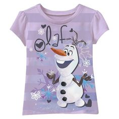Disney® Frozen Infant Toddler Girls' Short Sleeve Striped Olaf Tee - Lilac