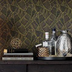 palm navy and gold self-adhesive wallpaper    CB2
