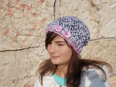 Crochet women hat Pink gray hat Crochet by RossiDesignsBoutique
