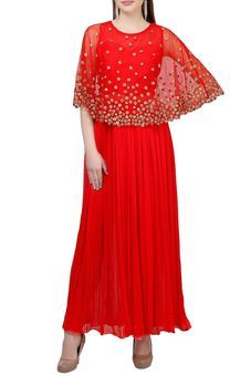 Tomato Red Georgette Anarkali With Net Embroidered Cape by Abhilasha and Abhishek, Anarkali Suits