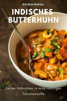 Butterhuhn in mild-würziger Tomatensoße - *Curry - Rezepte* - Chicken Recipes Spicy Tomato Sauce, Tomato Sauce Recipe, Sauce Recipes, Crock Pot Recipes, Chicken Recipes, Cooking Recipes, Easy Dinner Recipes, Easy Meals, Butter Chicken Curry