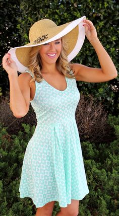 Marleylilly.com Wide Natural Outline Hat with Color Trim for $34.99. Dress available at Mondaydress.com $29.99 Float Forever Mint Green Print Dress. #preppy #monogram #derby #southern