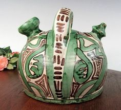 Vintage DOMINGO PUNTER SPAIN Art Pottery Teapot Decorative Folk Art Studio